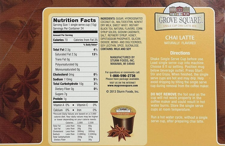 Chai Latte Nutrition Facts