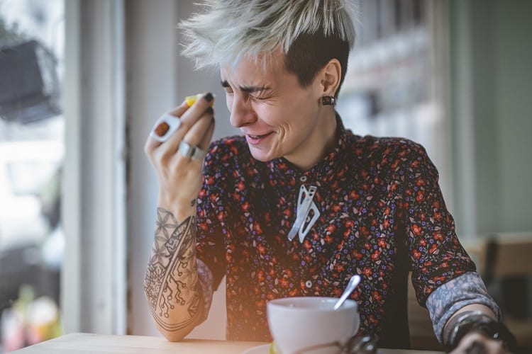 Woman Drinking Strong Coffee