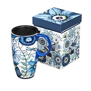 Cypress Home Shades of Indigo Ceramic Travel Coffee Mug