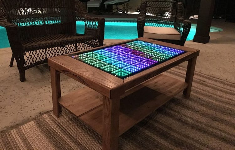 coffee table with lights and mirrors